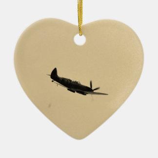 Spitfire Trainer In Flight Ceramic Heart Decoration