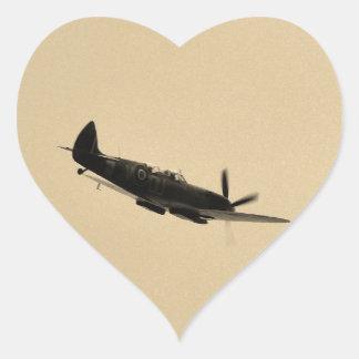 Spitfire Trainer In Flight Heart Sticker