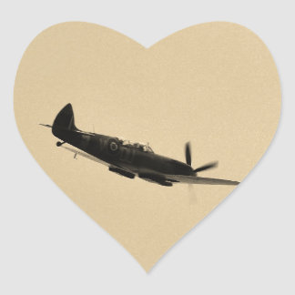 Spitfire Trainer In Flight Heart Sticker