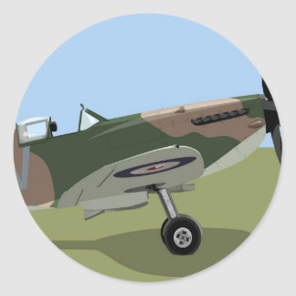Spitfire WW2 Fighter Classic Round Sticker
