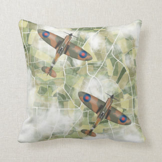 Spitfires flying in pair throw pillow
