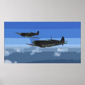 Spitfires On Convoy Patrol Poster