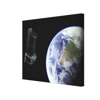 Spitzer departing the Earth soon after launch Stretched Canvas Print