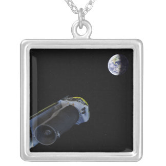 Spitzer points its high-gain antenna silver plated necklace