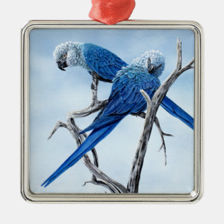 Spix Macaw gifts for the Spix lover Silver-Colored Square Decoration