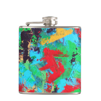 Splash-Hand Painted Abstract Brushstrokes Flask