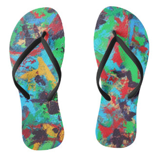 Splash-Hand Painted Abstract Brushstrokes Flip Flops
