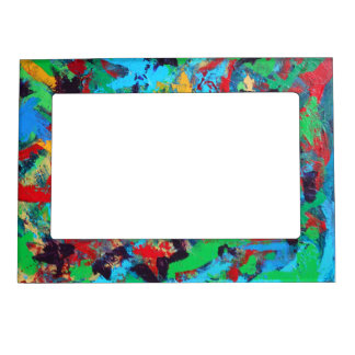 Splash-Hand Painted Abstract Brushstrokes Magnetic Picture Frame