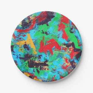 Splash-Hand Painted Abstract Brushstrokes Paper Plate