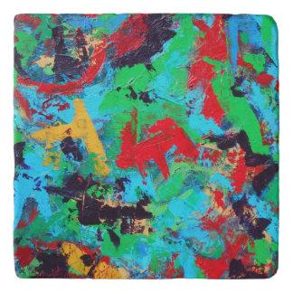 Splash-Hand Painted Abstract Brushstrokes Trivet