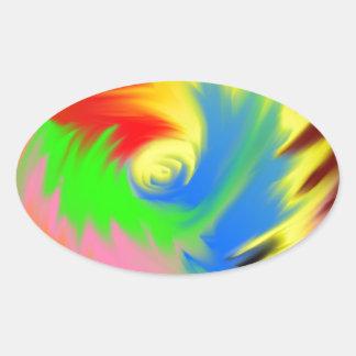 splash of color oval sticker