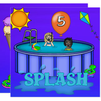 """Splash"" Pool Party 5th Birthday Card"