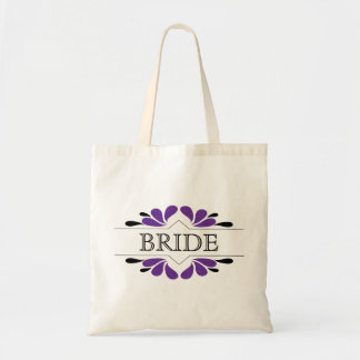 Splashes of Purple and black BRIDE Tote Bag