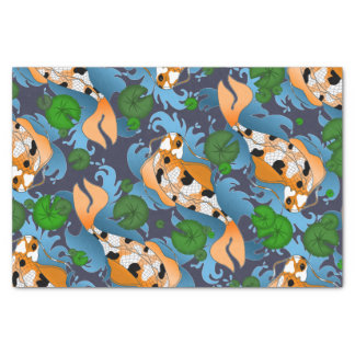 Splashing Asian Carp Koi Fish Pond Lilies Tissue Paper