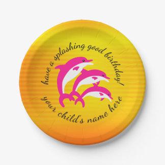 Splashing Good Birthday Dancing Pink Dolphins Paper Plate