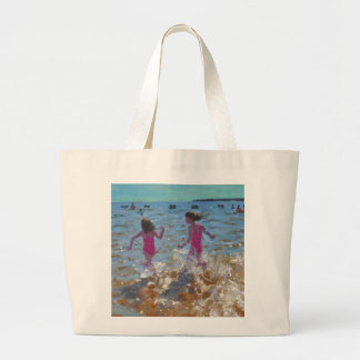 Splashing in the sea Clacton. 2014 Large Tote Bag