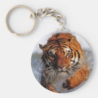 Splashing Majestic Bengal Tiger Swim Toward Prey Basic Round Button Key Ring