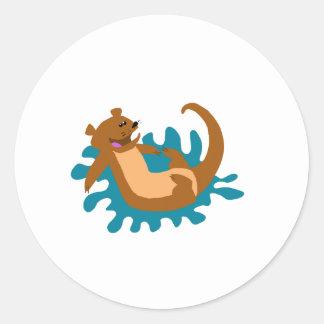 Splashing Otter Round Sticker