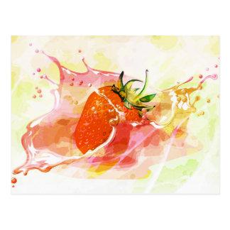 Splashing strawberry artistic design postcard