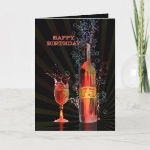 Splashing Wine 75th Birthday Card