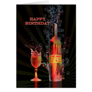 Splashing wine 75th birthday card