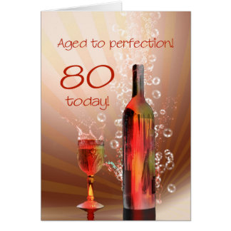 Splashing wine 80th birthday card