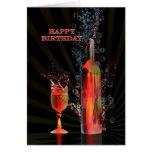 Splashing wine birthday card