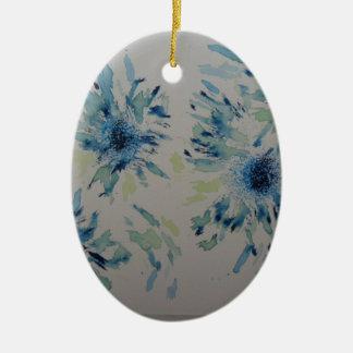 Splashy cobalt  & ice-blue flower heads ceramic oval decoration
