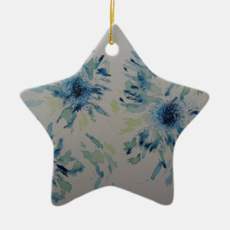 Splashy cobalt  & ice-blue flower heads ceramic star decoration