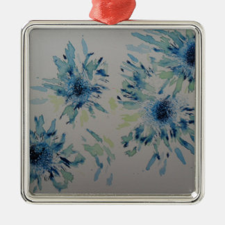 Splashy cobalt  & ice-blue flower heads christmas ornament