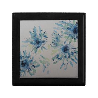 Splashy cobalt  & ice-blue flower heads gift box