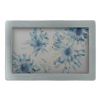 Splashy cobalt  & ice-blue flower heads rectangular belt buckles