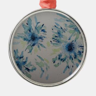 Splashy cobalt  & ice-blue flower heads Silver-Colored round decoration