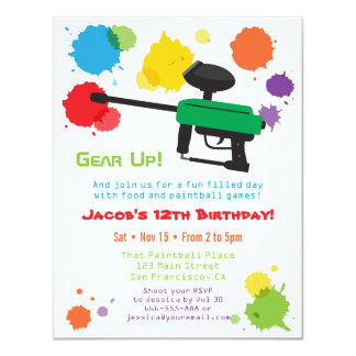 Splat Paintball Kids Birthday Party Invitations