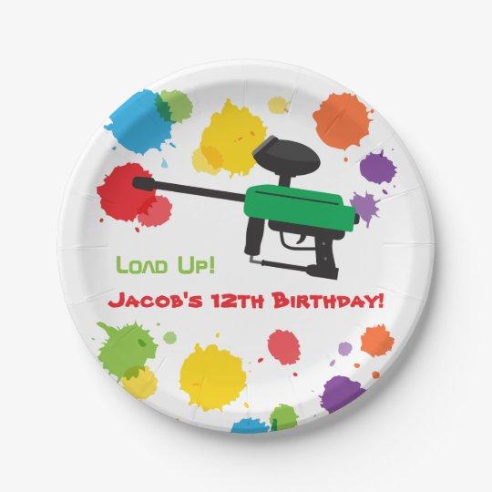Splat Paintball Kids Birthday Party Paper Plates 7