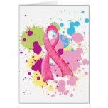 Splat Pink Ribbon Card