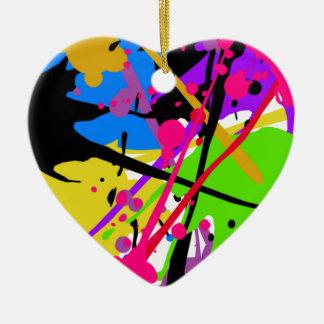 Splatter art graffitti to power ceramic heart decoration