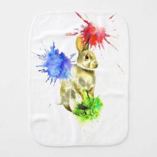 Splatter bunny burp cloth