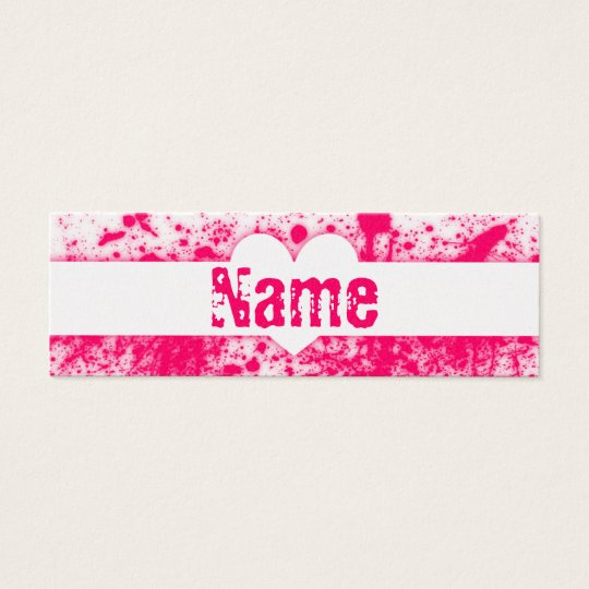 Splatter Hearts Pink Mini Business Card