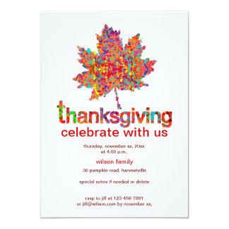 Splatter Leaf Art for Thanksgiving 13 Cm X 18 Cm Invitation Card