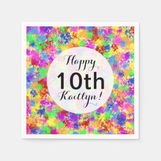 Splatter Paint Rainbow of Bright Color Background Paper Napkin