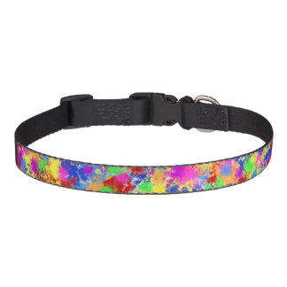 Splatter Paint Rainbow of Bright Color Background Pet Collar