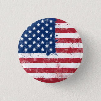 Splatter Painted American Flag 3 Cm Round Badge