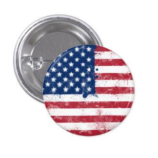 Splatter Painted American Flag 3 Cm Round Badge