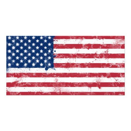 Splatter Painted American Flag Custom Photo Card