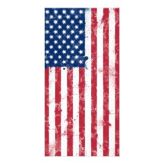 Splatter Painted American Flag Personalised Photo Card