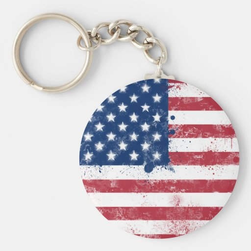 Splatter Painted Flag of the USA Keychain