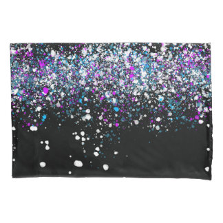 Splatter Pattern - Dark with Blue and Pink Pillowcase