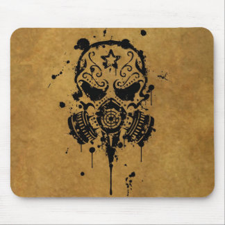 Splatter Sugar Skull with Gas Mask Mouse Pad