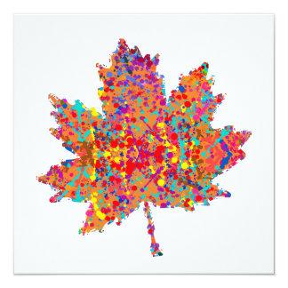 Splatter Thanksgiving Leaf Art 13 Cm X 13 Cm Square Invitation Card